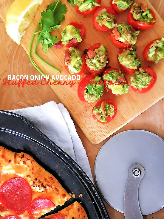 Bacon Onion Avocado Stuffed Cherry Tomatoes Recipe - An Easy Bite-Sized Salad Side! #BaronessPatches (ad)