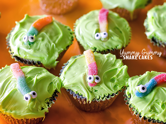 Yummy Gummy Snake Cakes Summer Kids Cupcake Recipe