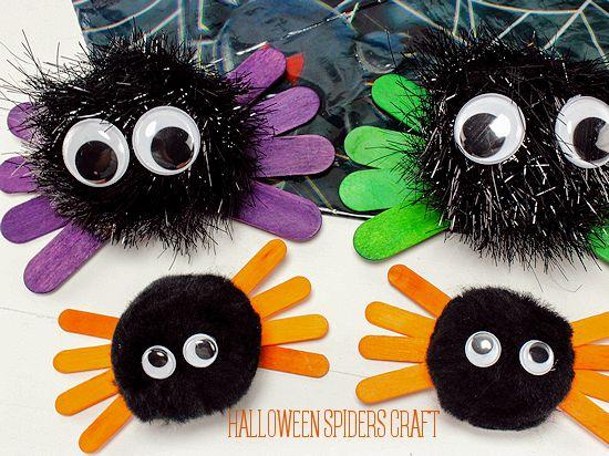 Craft Stick & Pom Halloween Spiders Craft, Kids Craft