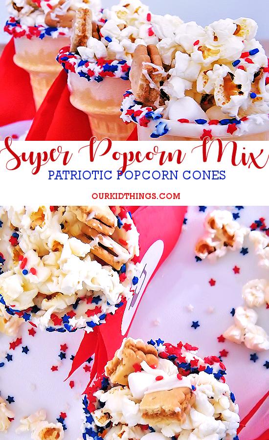 Captain's Cones Super Popcorn Mix Popcorn Recipe, After School Snack with Pop Secret, Lance Snacks, and Walmart #pmedia #Pop4Captain #patriotic #july4 #superhero #snack #kidfood #popcorn (ad)