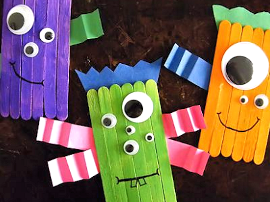 Colorful Craft Stick Monsters, Halloween Craft