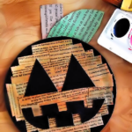 Watercolor on Newspaper Jack-O-Lantern