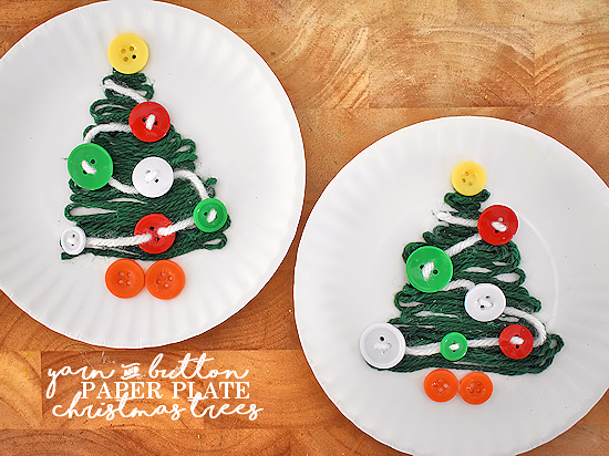 Paper Plate Yarn u0026 Button Christmas Trees Christmas Craft & Paper Plate Yarn u0026 Button Christmas Trees   Our Kid Things