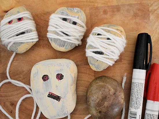 Yarn Wrapped Mummy Rocks Halloween Nature Craft