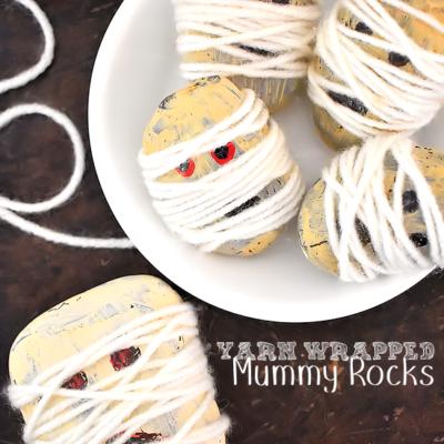 Yarn Wrapped Mummy Rocks