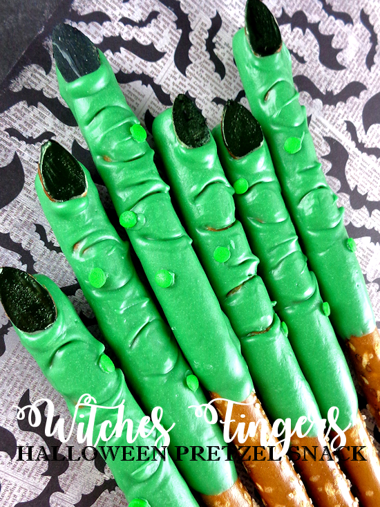 Halloween Treats With Pretzel Sticks.Witches Fingers Halloween Pretzel Snack Our Kid Things