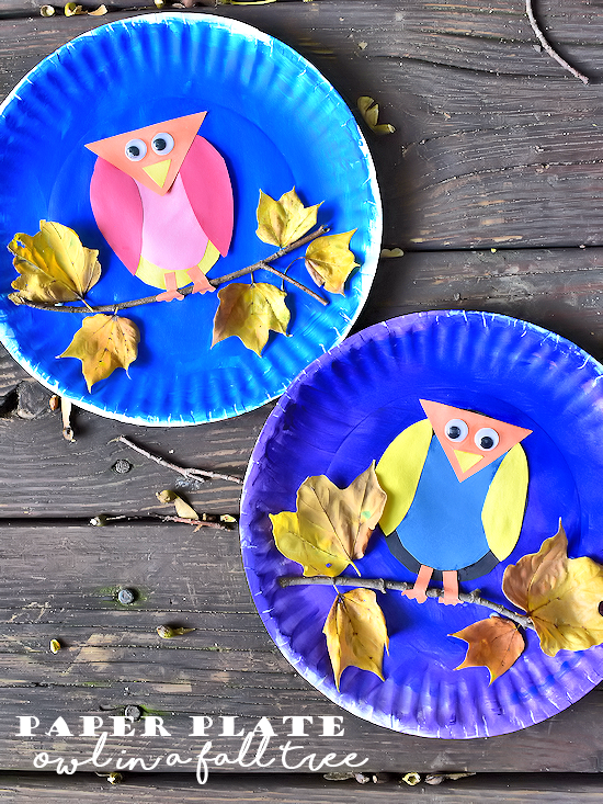 colorful paper plate owl paper plate owl in a fall tree craft our kid things 3677