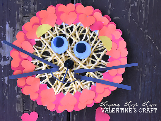 Valentine's Day Love Lacing Lion Craft, Paper Plate Lacing Craft, Kids Craft