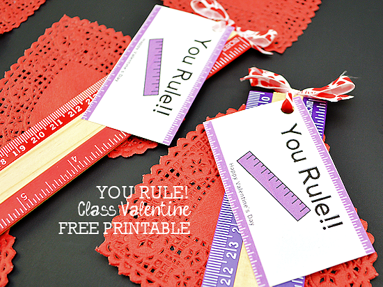 Kids You Rule! Class Valentine Gift Idea, Kids Valentine's Day, Valentine's Day Card Free Printable