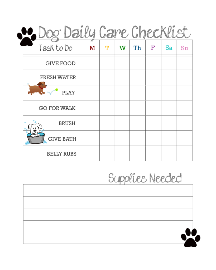 daily dog care checklist free printable our kid things