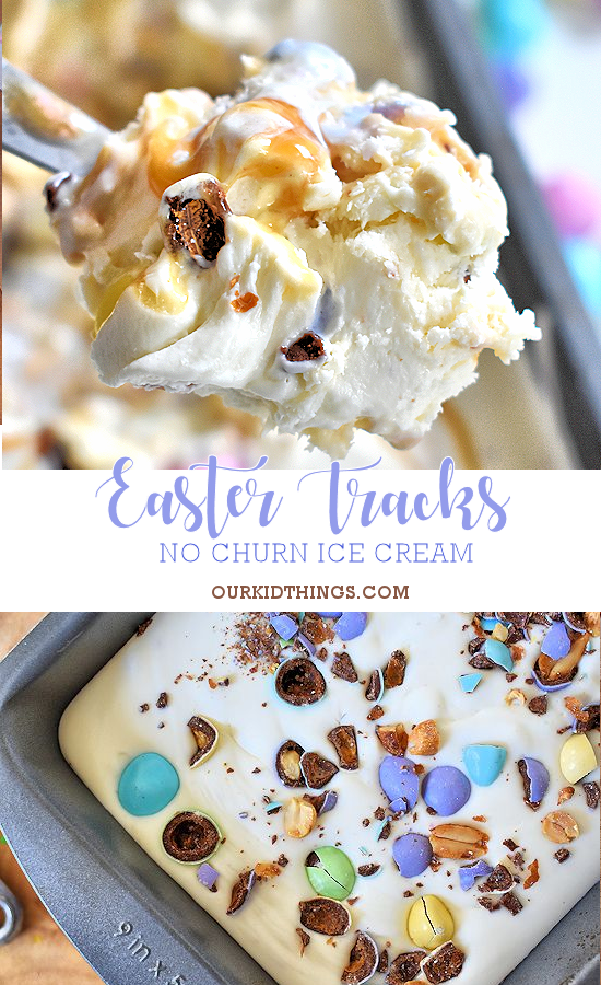 4 Ingredient No Churn Easter Tracks Ice Cream #SpringMoments #Easter #IceCream (ad)