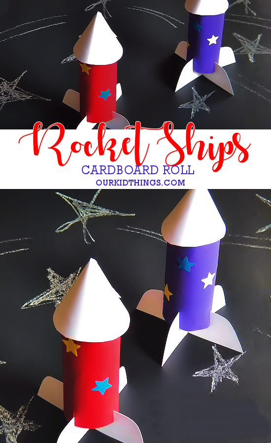 Cardboard Roll Rocket Ships Craft #space #july4th #patriotic #kids #craft (ad)