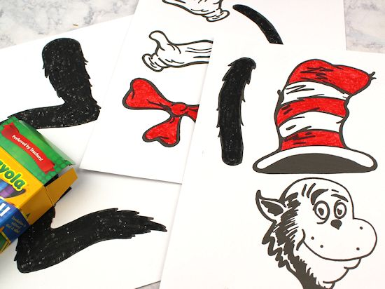 Color Your Own Dr Seuss Cat In The Hat Paper Bag Puppet With Free Printable