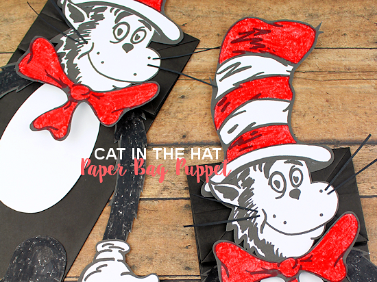 image relating to Free Printable Paper Bag Puppet Templates named Cat inside the Hat Paper Bag Puppet Our Boy or girl Elements