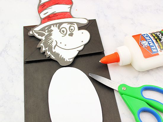 Cat in the Hat Paper Bag Puppet | Our Kid Things