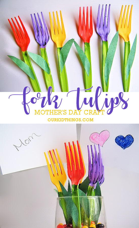 Mother's Day Bouquet Plastic Fork Tulips Craft - write messages to mom on note cards and stick in the tines of the forks! #mothersday #giftidea #flowers #craft #tulips #kidscraft