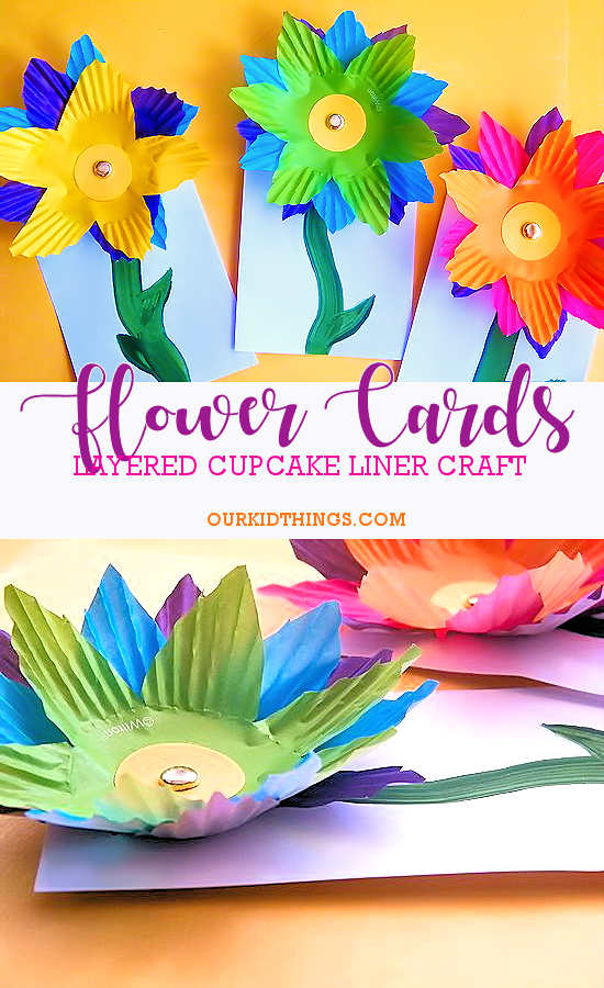Cupcake Liner Flower Craft Cards #spring #flowers #craft #kids #mothersday #cupcakelinercraft #kidscraft