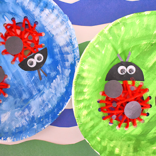 Paper Plate Lacing Ladybugs Craft