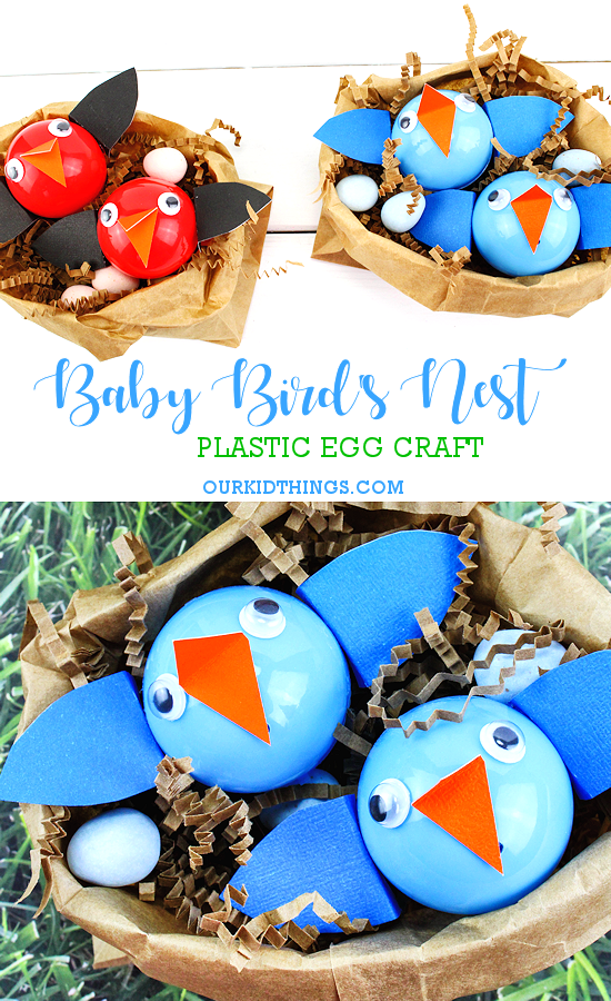 Baby Bird's Nest Craft made with Plastic #EasterEggs #Spring #kids #craft