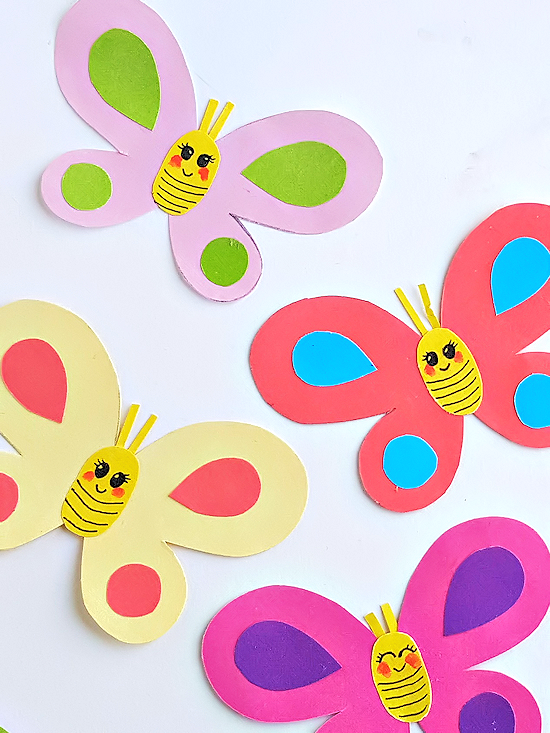 graphic regarding Printable Crafts for Kids named Smiley Butterflies Paper Craft Our Child Elements