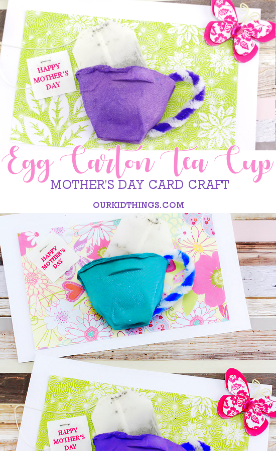 Egg Carton Mother's Day Tea Cup Card #mothersday #eggcartoncrafts #kidcrafts #homemadecards