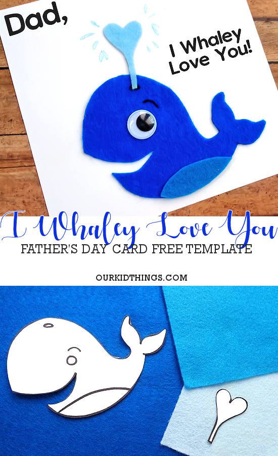I Whaley Love You Father's Day Card with Free Printable Template #fathersday #freeprintable #printable #oceancraft #underthesea