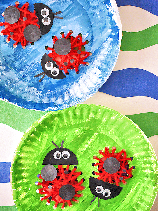 Leave ...  sc 1 st  Our Kid Things & yarn weaving ladybugs paper plate craft | Our Kid Things
