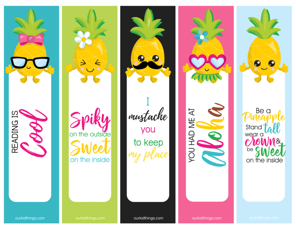 picture regarding Bookmarks Printable named Pineapple Bookmarks Absolutely free Printable Fastened Our Little one Elements