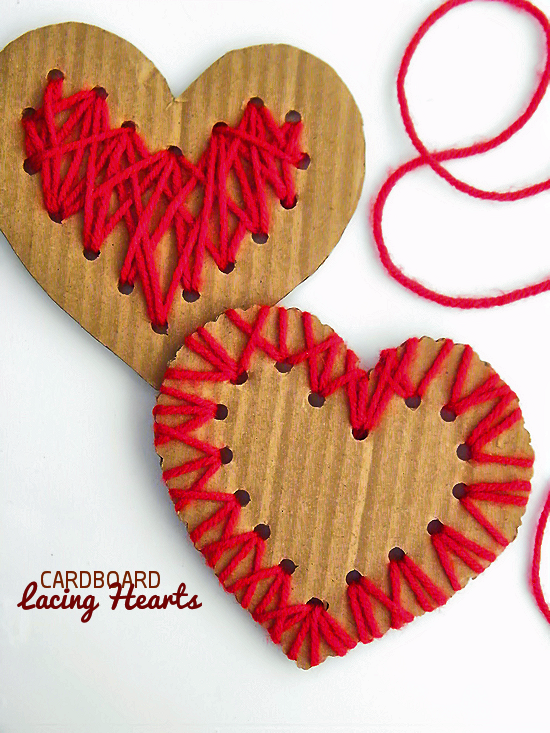 valentines craft ideas for children cardboard lacing hearts our kid things 7300
