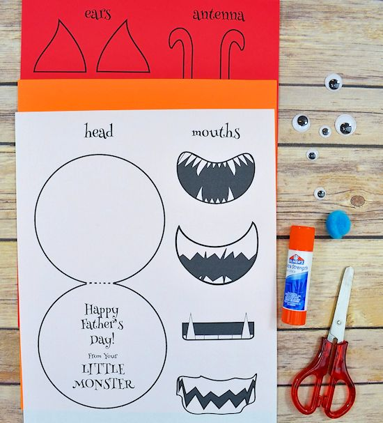 Little Monster Father's Day Card with Free Printable of Monster Facial Features #fathersday #monsters #freeprintable #kids #cardcraft