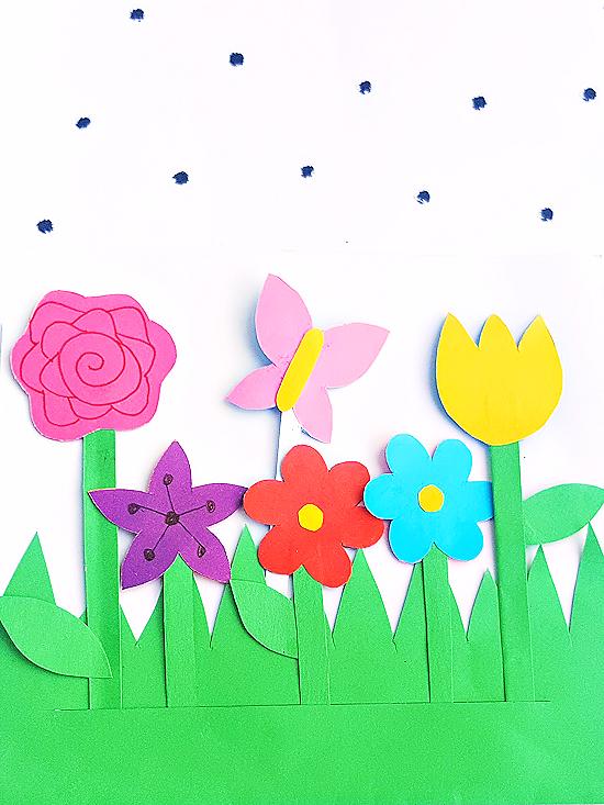 Paper flower garden craft our kid things paper flower garden craft with free printable template summer spring flowercraft garden mightylinksfo