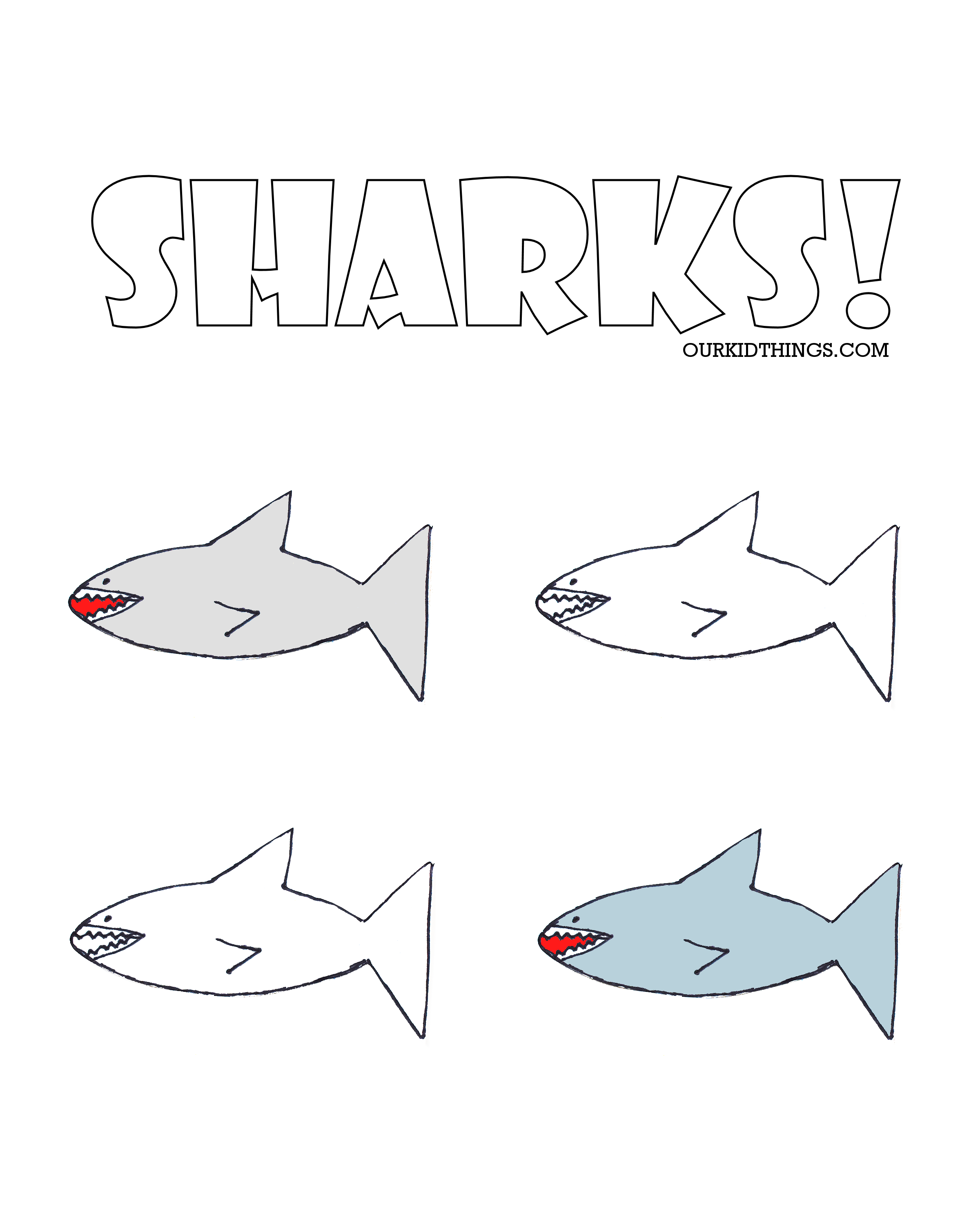 drawn sharks template free printable our kid things