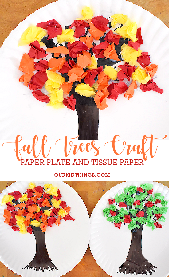 Tissue Paper Fall Trees Craft Pin Our Kid Things