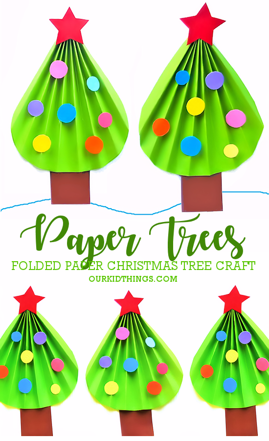 Folded Paper Christmas Tree Craft Our Kid Things
