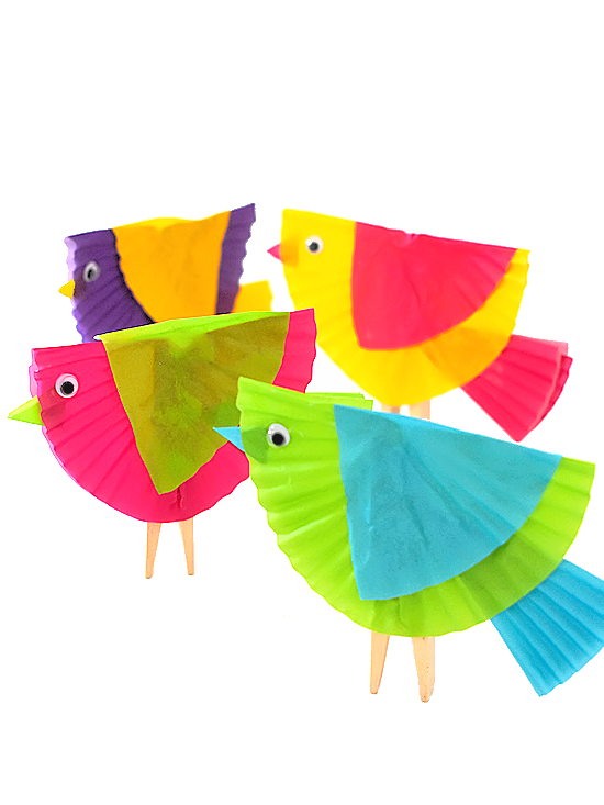 Cupcake Liner Clothespin Birds Craft Our Kid Things