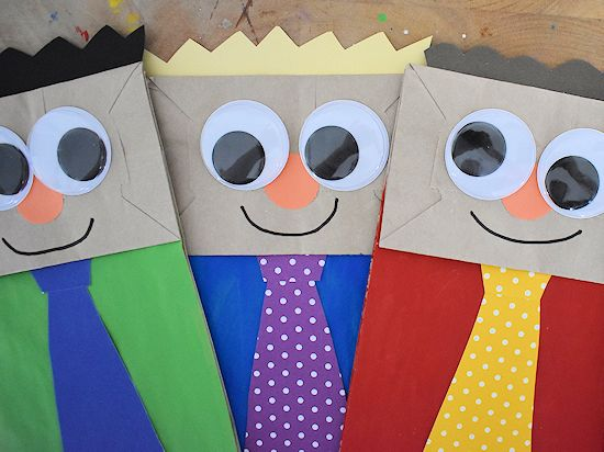 Father's Day Paper Bag Dad Puppet Craft