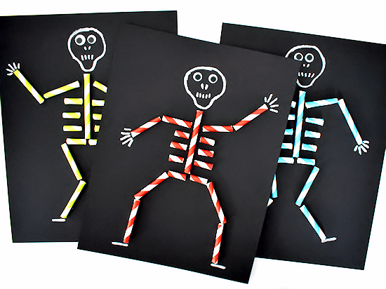 Paper Straw Skeleton Craft | Our Kid Things