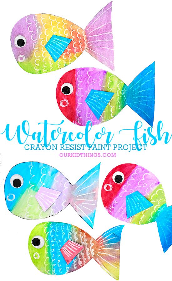 Crayon Resist Watercolor Fish