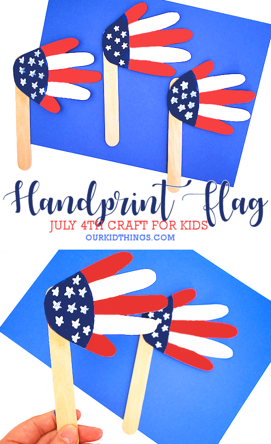 handprint american flag craft pin image on white background