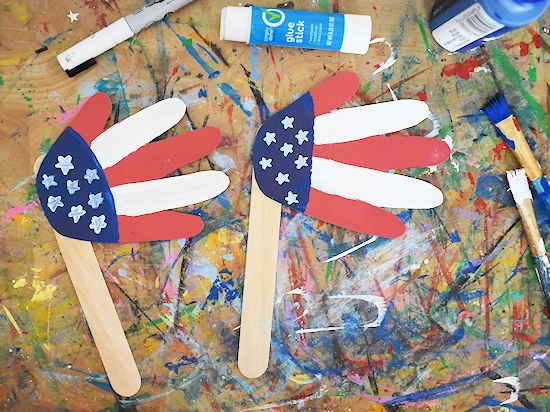 two handprint flag crafts