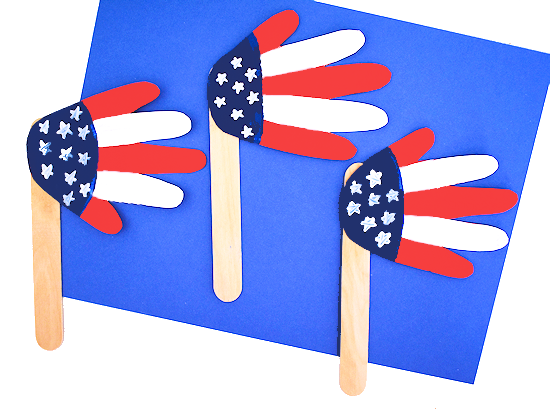 handprint american flag craft styled image on white background